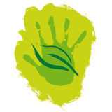 Hand and leaf royalty free illustration