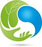Hand, leaf and drops, wellness and health logo. Hand, leaf and drops, colored, wellness and health logo Stock Photos