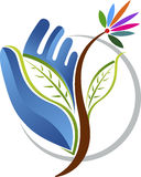 Hand leaf logo Stock Photo