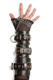 Hand in Leather Cuffs Royalty Free Stock Images