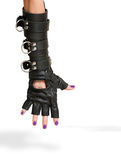 Hand in Leather Glove with Iron Rings Royalty Free Stock Photography