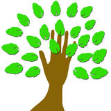 A hand with leaves. vector illustration