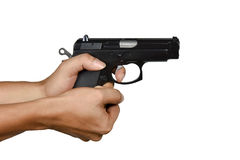 A hand with lefty handgun cup and saucer gripping style Royalty Free Stock Photo