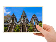 Hand and Lempuyang temple in Bali Indonesia my photo Royalty Free Stock Photo