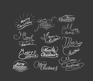 Hand-lettered CHRISTMAS GREETINGS - handmade calligraphy.  Stock Images