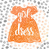 Hand-lettered  a colorful poster advertising children's clothes and dresses for little girls. Vector Stock Photography