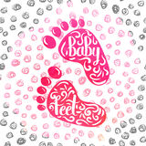 Hand-lettered  a colorful poster advertising the prints of children's feet. Casts from clay and clay in memory of the birth of a baby girl Stock Photo
