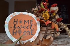 Hand lettered decoration, home sweet home. Hand lettered card for decoration using pencil and brush pen. Hand lettering is such an amazing and creative hobby to Stock Photography