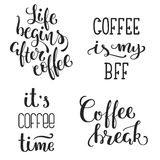 Hand lettered inspirational coffee quotes set. . Vector illustration Royalty Free Stock Images