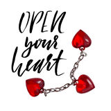 Hand lettered inspirational quote. Open your heart. Hand brushed ink lettering. Modern brush calligraphy. Vector Stock Image