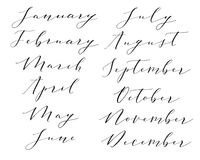 Hand lettered months. Vector modern calligraphy hand lettered months of the year. Collection of twelve year months including january february march april may Stock Photos