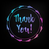 Hand lettered multicolored Thank You text. Royalty Free Stock Photos