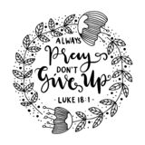 Hand Lettered Always Pray Don't Give Up