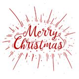 Hand lettered red Merry Christmas text with burst. Hand lettered red Merry Christmas text with firework burst for poster, banner and holiday greeting card Royalty Free Stock Image