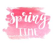 Hand lettered style spring design on a grungy background with green ink blots. Spring Time hand drawn calligraphy letters. Royalty Free Stock Images