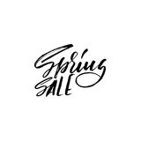 Hand lettered style spring design on a white background. Spring Sale hand drawn calligraphy letters. Vector illustration Royalty Free Stock Images