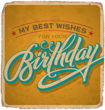 Hand-lettered vintage birthday card (vector) stock illustration