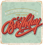 Hand-lettered vintage birthday card (vector) Royalty Free Stock Photos
