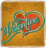 Hand-lettered vintage valentines card (vector) Stock Image