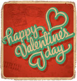 Hand-lettered vintage valentines card (vector) Royalty Free Stock Photos