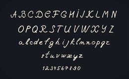 Hand lettering alphabet design, handwritten brush calligraphy cursive font vector illustration, uppercase and lowercase. Numbers, black and white Royalty Free Stock Photo
