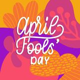 Hand lettering April Fools day. Vector illustration. Holiday background for greeting card, poster etc. Hand lettering April Fools day. Vector illustration Stock Photo