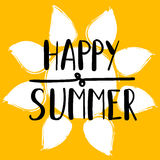 Hand lettering art piece happy summer on the background of yellow sun.  Hand drawn typography concept. Vector art. Royalty Free Stock Images