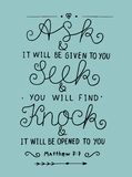 Hand lettering Ask. Seek. Knock. Royalty Free Stock Image