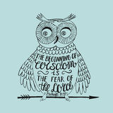 Hand lettering the Beginning of wisdom the fear of the Lord, made an owl. Stock Image