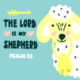 Hand lettering and bible verse The Lord is my shepherd with sheep. Psalm 23. Hand lettering The Lord is my shepherd with sheep. Biblical background. Christian Royalty Free Stock Image
