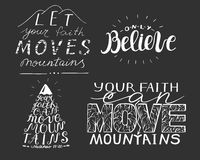 4 hand lettering with biblical verses. Royalty Free Stock Photo