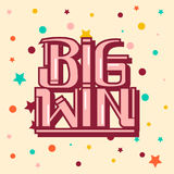 Hand lettering big win congrats. Vector graphic calligraphy big win lettering congrats Royalty Free Stock Image
