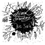 Hand lettering Black Friday and design elements Stock Photo