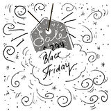 Hand lettering Black Friday and design elements Stock Photos