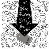 Hand lettering Black Friday and design elements Royalty Free Stock Photography
