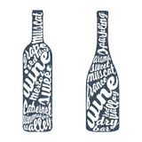 Hand lettering bottle of wine Royalty Free Stock Photos