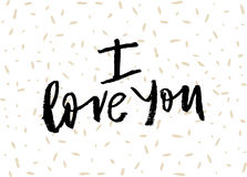Hand lettering with brush. I love you phrase. Hand lettering vector card I love you. Expressive inscription for lovers Royalty Free Stock Photo