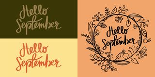Hand Lettering Calligraphic Hello September. Hand Lettering Calligraphic Inscription Hello September stock photos