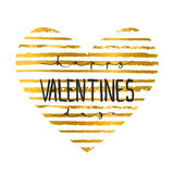 Hand lettering calligraphic party typography poster Happy Valentines Day on the gold stripes heart background. For greeting with Valentine Day or wedding Stock Images