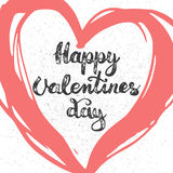 Hand lettering calligraphic party typography poster Happy Valentines Day on the red heart grunge background. Stock Photos