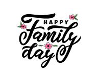 Hand lettering calligraphy Happy Family day. vector illustration for greeting card, poster, banner, flyer, print, web. Green vector illustration