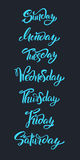 Hand lettering Days of Week. Modern calligraphy. Stock Images