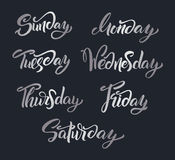 Hand lettering Days of Week. Modern calligraphy. Royalty Free Stock Image