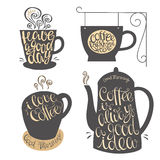 Hand lettering design for coffee shop, restaurants, menu. Royalty Free Stock Photo