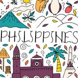 Hand lettering and doodle elements of Philippines. vector illustration
