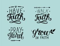 4 Hand lettering about faith royalty free illustration