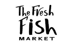 Hand lettering of The fresh fish market black color with texture. Vector lettering of text Ffish market. Modern calligraphy.Template of logotype of fish shop Royalty Free Stock Photography