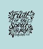 Hand lettering The fruit of the spirit is joy. Royalty Free Stock Photo