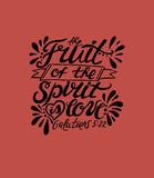 Hand lettering The fruit of the spirit is love on red background. Royalty Free Stock Photo