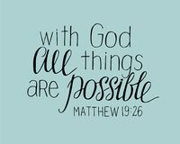 Hand lettering With God all things are possible. Christian poster. New Testament. Modern calligraphy. Quote. Bible verse Stock Photo